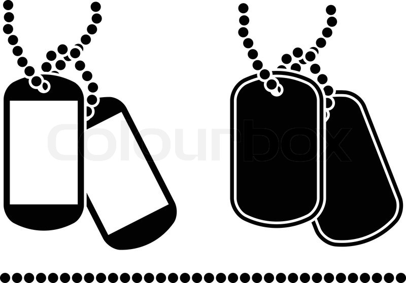 Stencils of dog tags. ...