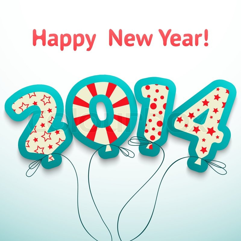 Happy new year 2014 retro greeting card with balloons vector il happy new year 2014 retro greeting card with balloons vector il stock vector colourbox m4hsunfo