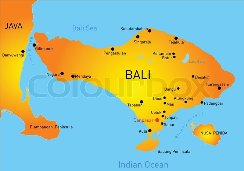 Map Of Bali Country Stock Vector Colourbox