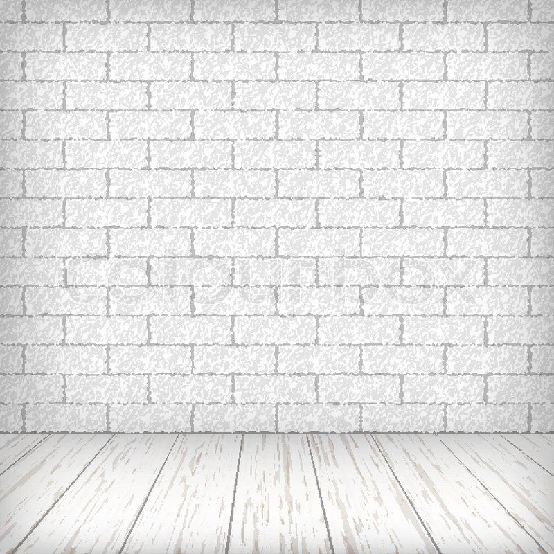 Hourwall Classicbrick Vintagewhite: White Brick Wall With Wooden Floor In A Vintage Interior