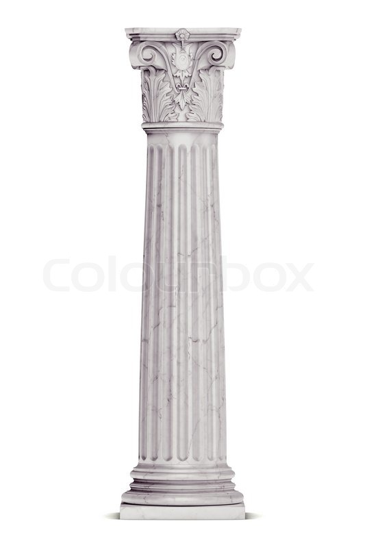 Single greek column isolated on white | Stock Photo ...