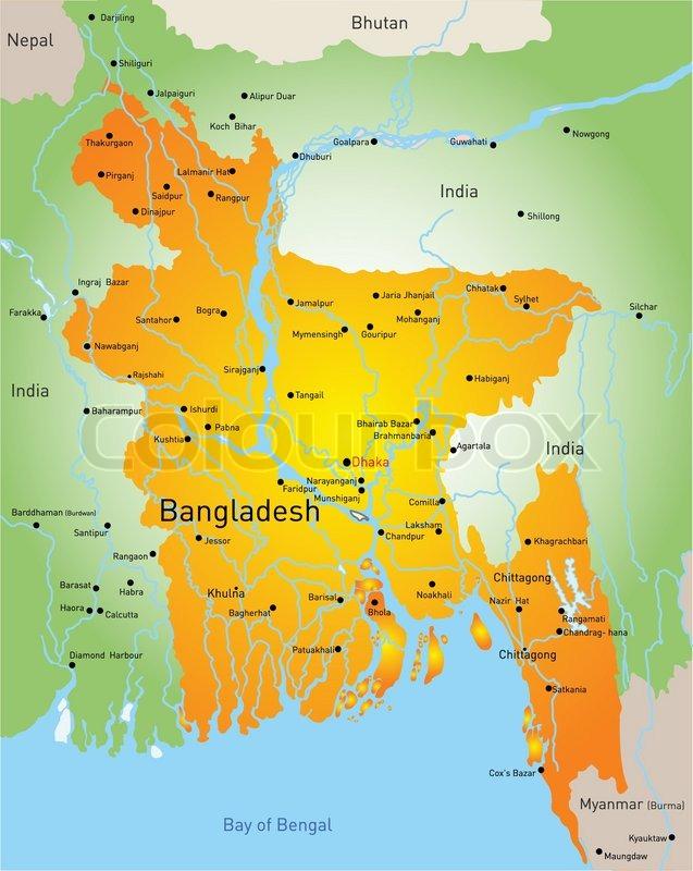 Vector Map Of Bangladesh Country Stock Vector