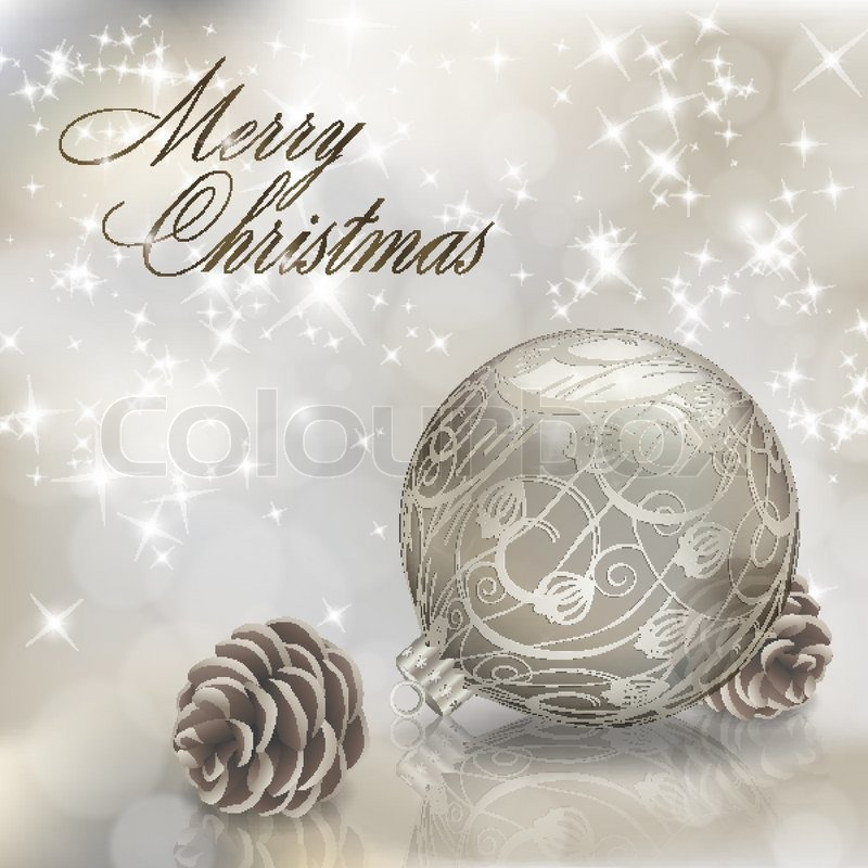 Silber Frohe Weihnachten Grußkarte mit Weihnachtskugel ...