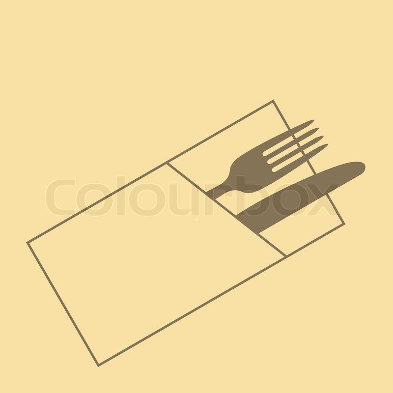 Restaurant menu design with knife fork and napkin