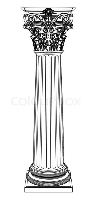Single Greek Column Isolated On White Stock Vector