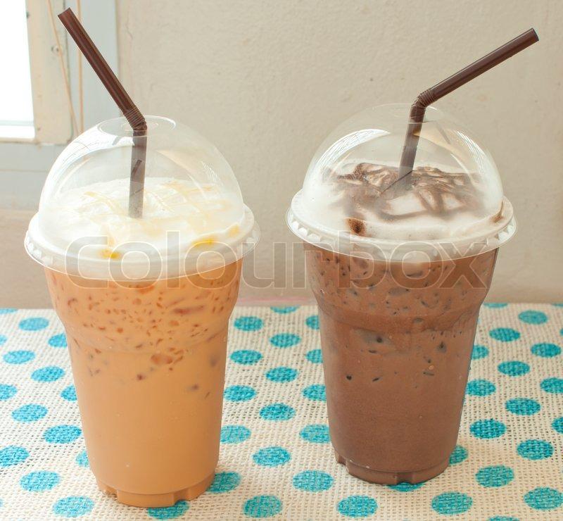 8050584 thai iced tea with iced chocolate   Iced Coffee Thai Iced Tea With Iced Chocolate Royalty Free Stock Photo Image