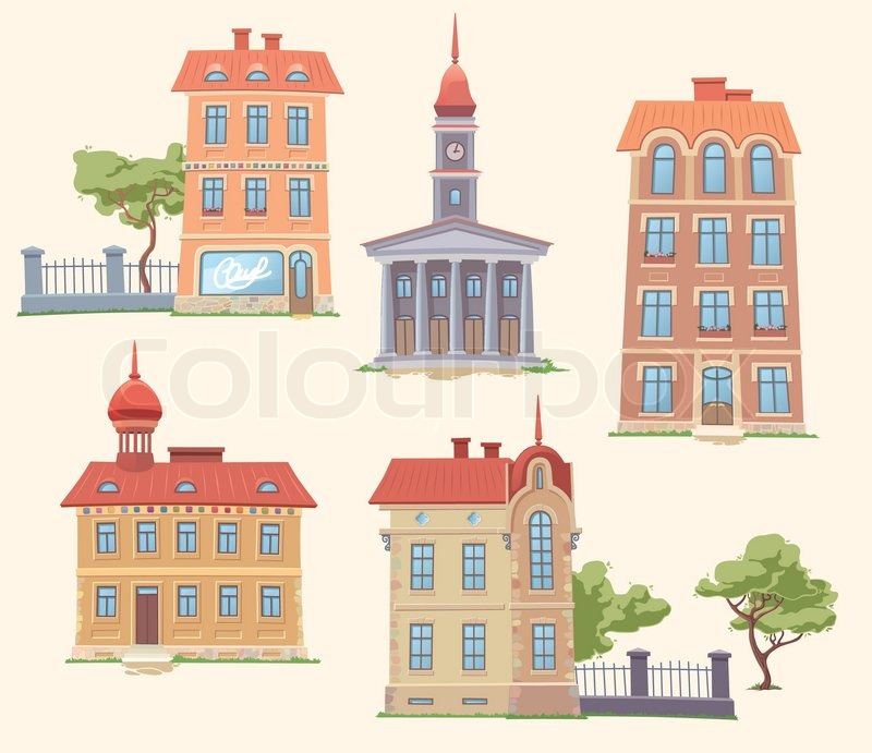 The Set Of Old But Classic Vector Buildings There Are Residence Building Apartment Houses Small Parks And City Hall