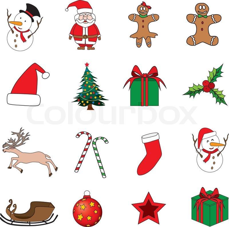 satz von weihnachts icons vektor illustration. Black Bedroom Furniture Sets. Home Design Ideas