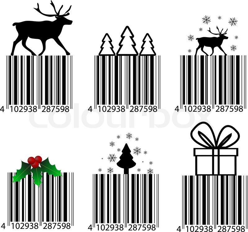 Schwarze und weiße Weihnachten Barcode | Vektorgrafik | Colourbox