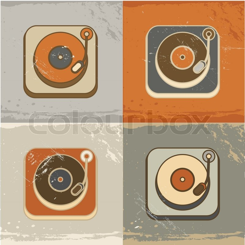 Player Icons Vector Retro Record Player Icons