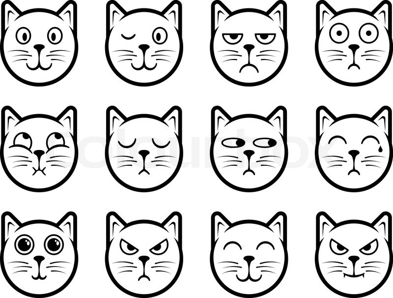 Cat smiley icons vektorgrafik colourbox - Smiley noir et blanc ...