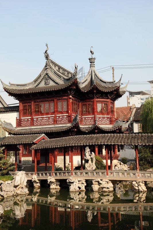 Arkitektur arkitektur garden : Traditionel kinesisk arkitektur i Yuyuan Garden , Shanghai Kina ...