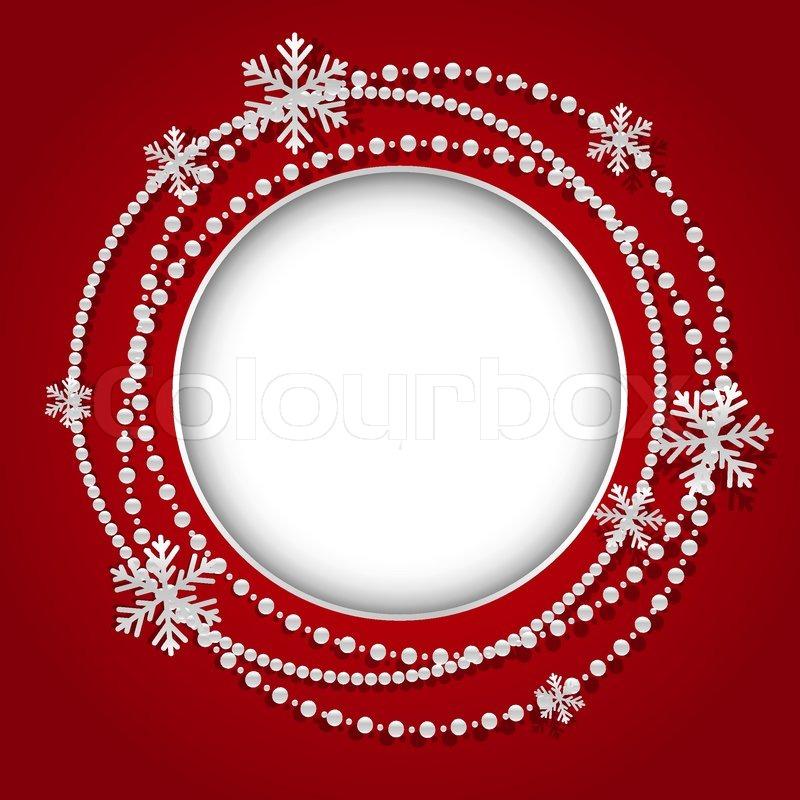 Runde Rahmen mit Weihnachten Girlande weiß | Vektorgrafik | Colourbox