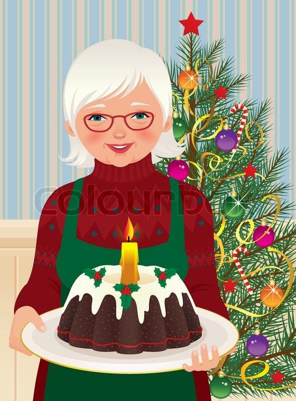 grandmother and christmas cake stock vector colourbox