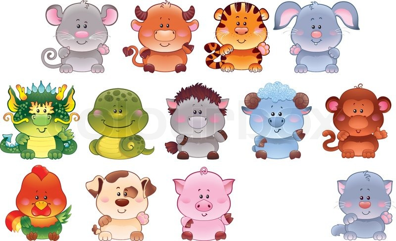 Symbols Of Chinese Horoscope As Cute Baby Animals This Image Is A