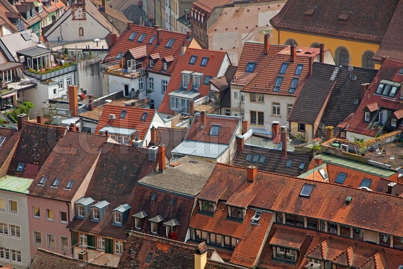 roofs of buildings in freiburg im breisgau city stock photo colourbox. Black Bedroom Furniture Sets. Home Design Ideas