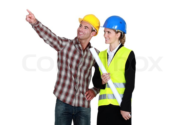 Architect And Builder Pointing Into Blank Copyspace | Stock Photo |  Colourbox