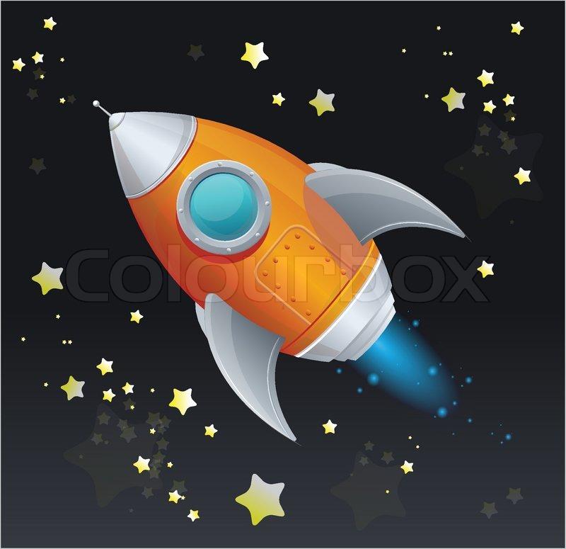 Comic cartoon rocket space ship | Stock Vector | Colourbox