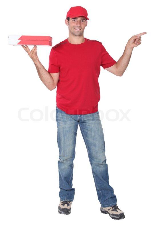 pizza delivery man stock photo colourbox