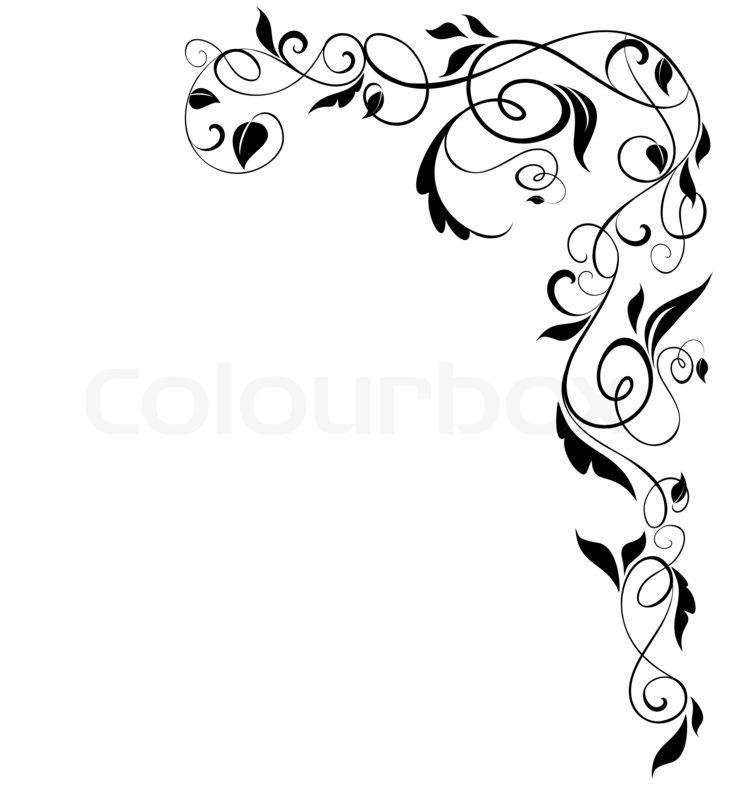 floral black border raster copy stock photo
