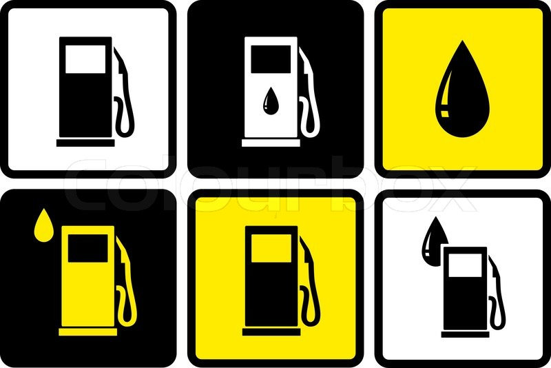 Set Of Colorful Gas Station Icons With Fuel Drop Stock Vector