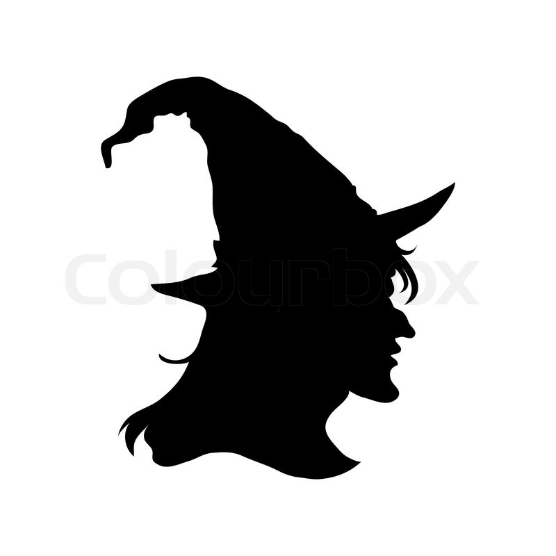 Halloween Witch Head Silhouette Stock Vector Colourbox