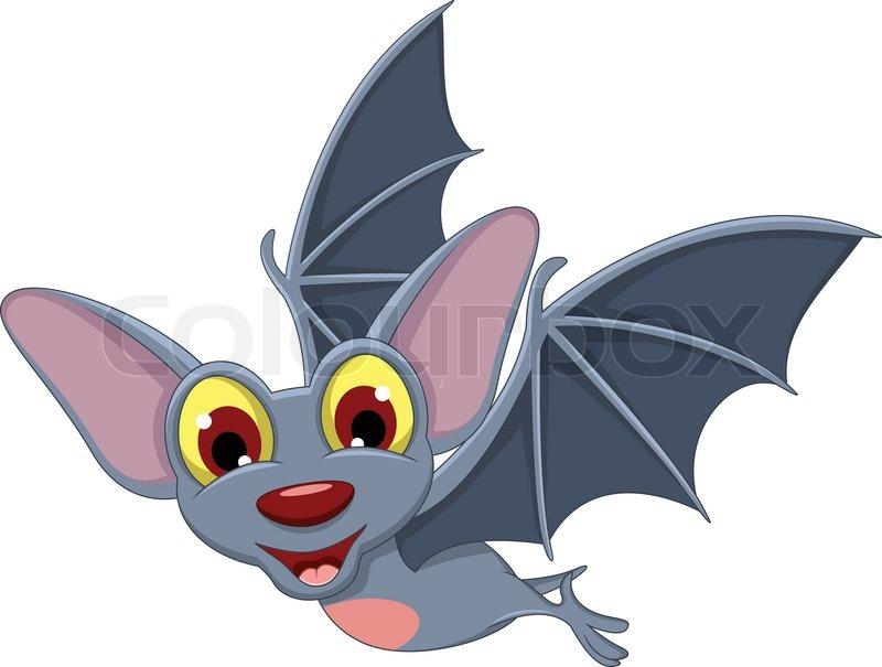 funny cartoon halloween bat flying vector - Bat Cartoon
