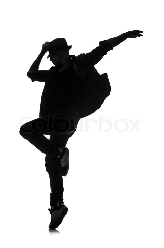 Silhouette Of Male Dancer Isolated On Stock Image Colourbox