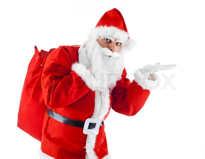 stock image of young santa claus pointing on white background - White Santa Claus