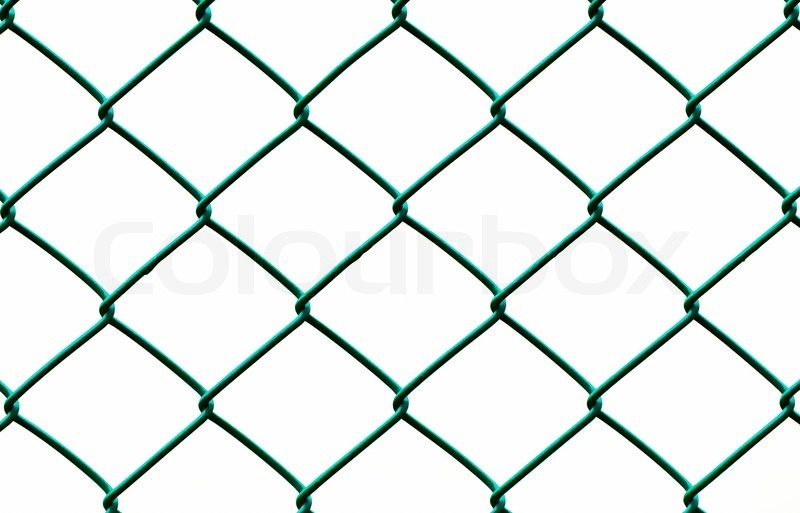 Green Wire Fence isolated on White Background, Horizontal pattern ...