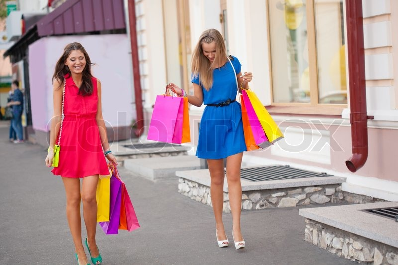 Two women with shopping bags | Stock Photo | Colourbox