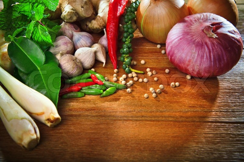 kitchen table with food. Delighful Food Thai Kitchen Food Spice Herb Pepper Mint Lemon Grass Red Onion Garlic  Chilly Ginger For Cooking Original Eastern Syle On Top Wood Table  Stock Photo  To Kitchen Table With Food E