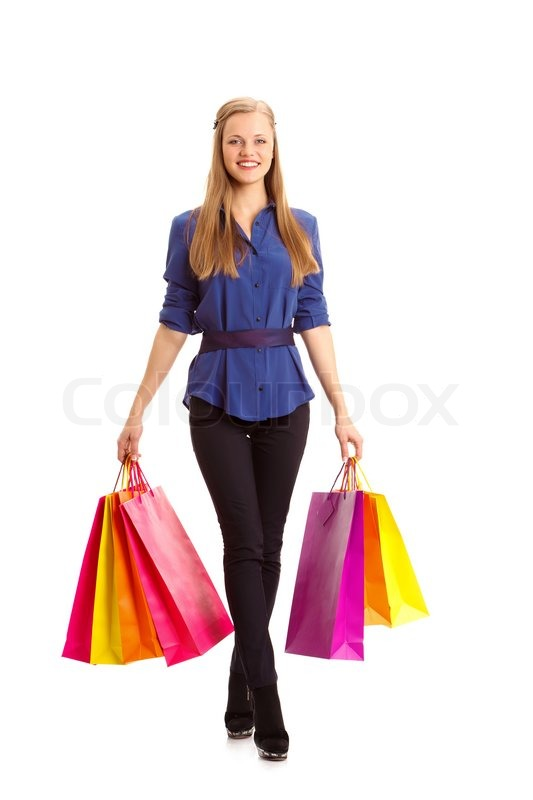 Sale Sale Sale... Woman carrying shopping bags | Stock Photo ...
