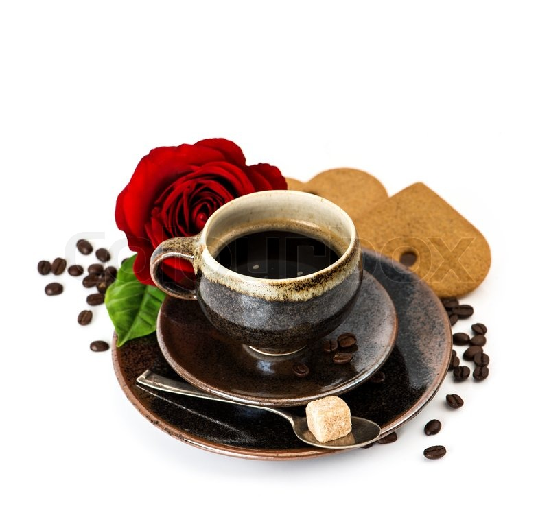 Cup Of Black Coffee And Red Rose Flower Over White Stock