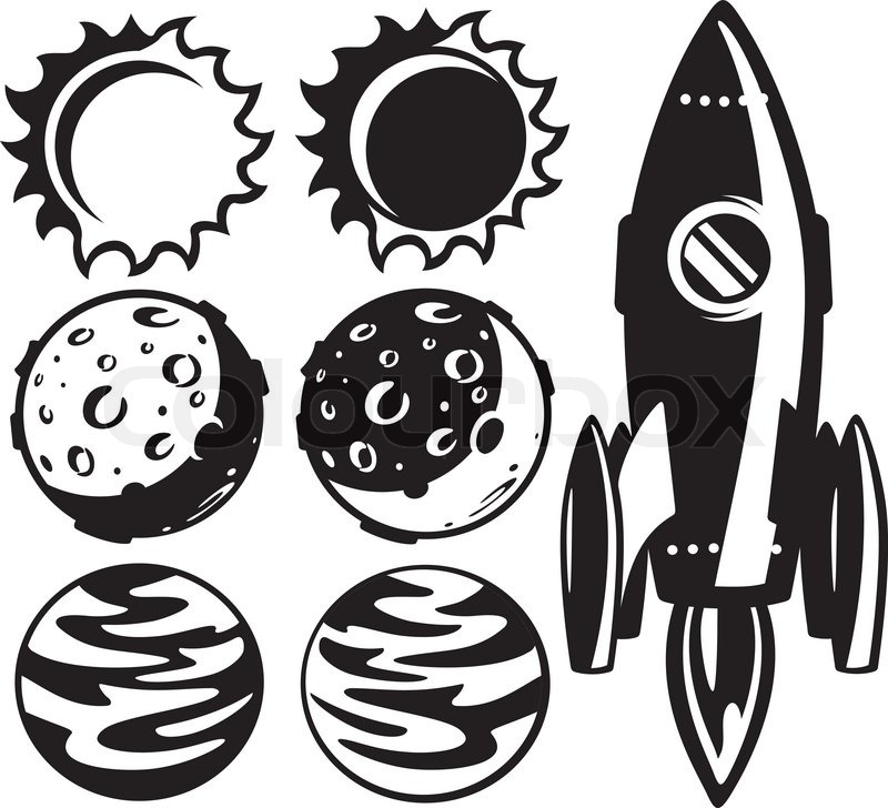 Black and white rocket and planets | Stock Vector | Colourbox