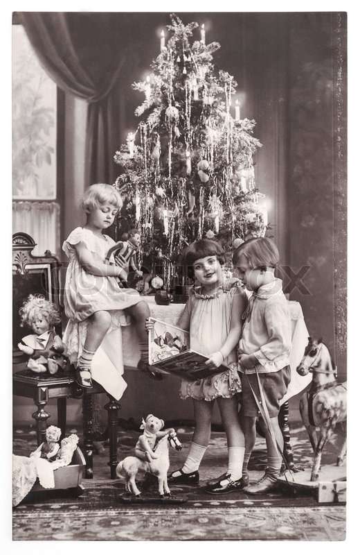 BERLIN, GERMANY - CIRCA 1900: antique photo of happy kids with ...