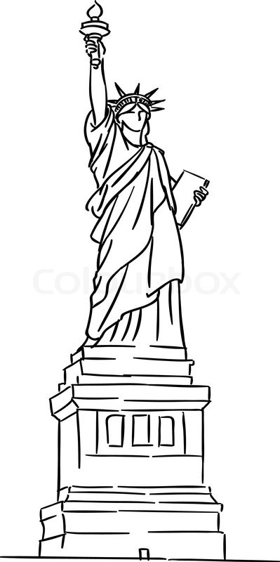 Line Art Usa : American statue of liberty for travel industry design