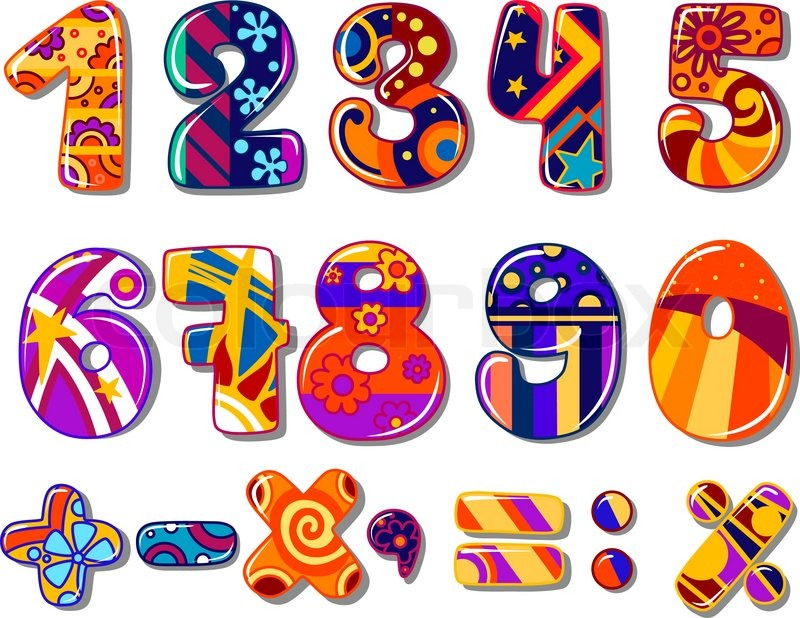 Cartoon Colourful School Numbers For Mathematics Or