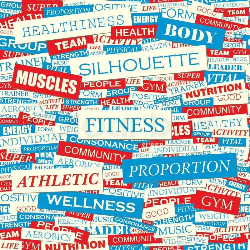 FITNESS. Seamless Pattern. Concept Related Words In Tag