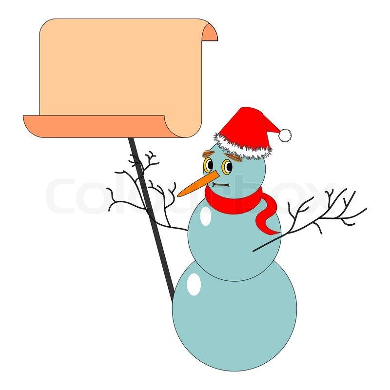 Ein Schneemann Weihnachten mit einem großen Blankopapier ...
