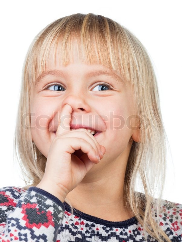 Portrait Of Happy Girl Picking Her Nose Stock Image