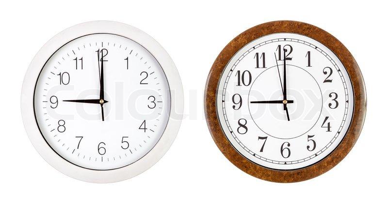 Clock Face Showing 12 O'clock Faces Showing Nine O'clock