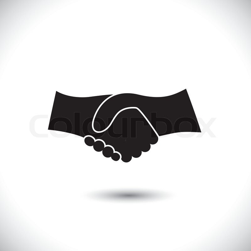 Concept vector graphic icon business hand shake in black white this illustration can also represent new partnership friendship unity and trust