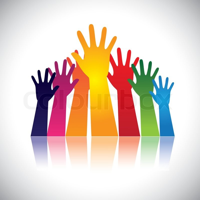Reaching Hands Clip Art Colorful abstract hand...