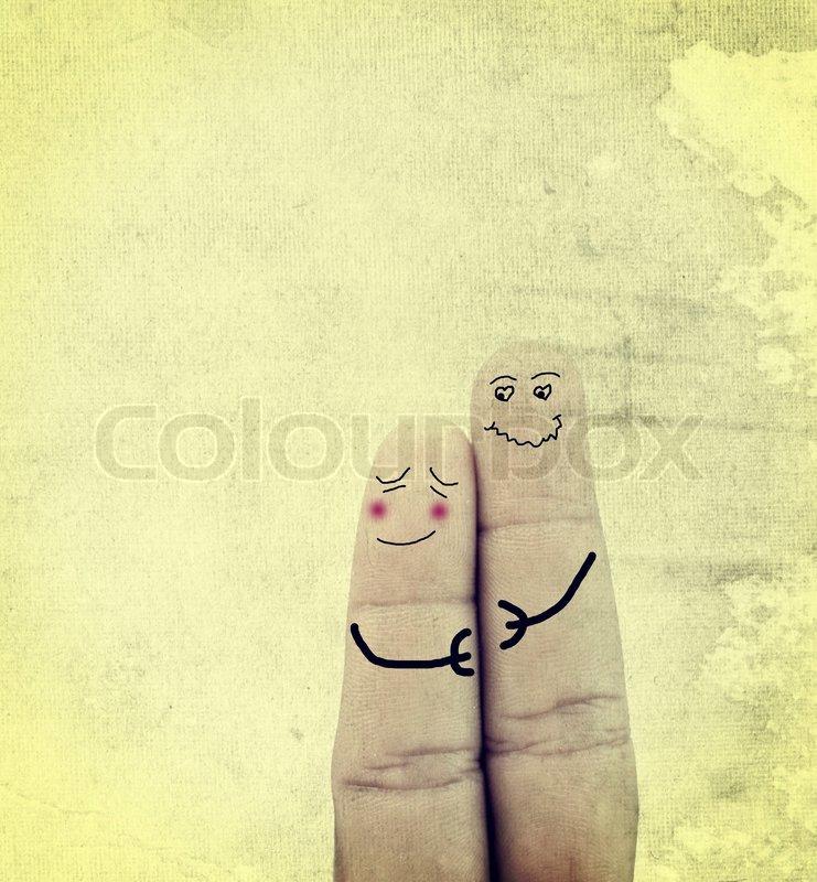 Paar In Der Liebe Auf Den Fingern Gemalt Stock Bild Colourbox