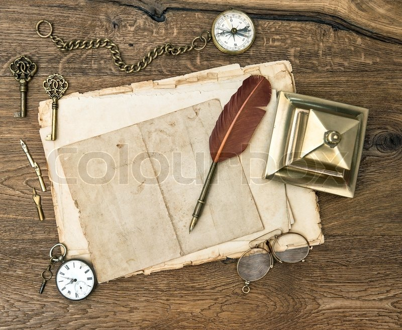 Antique Office Supplies And Accessories On Wooden Table | Stock Photo |  Colourbox