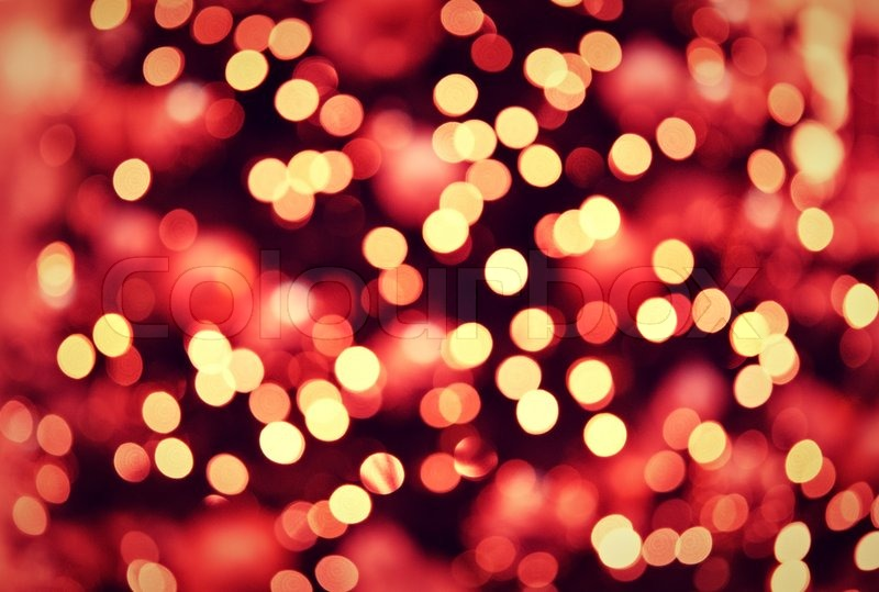 Red golden Christmas lights background with bokeh : Stock Photo : Colourbox
