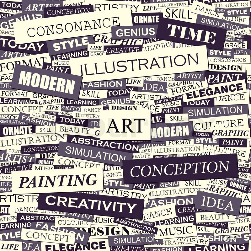 Art Seamless Pattern Concept Related Words In Tag Cloud Conceptual Info Text Graphic Word