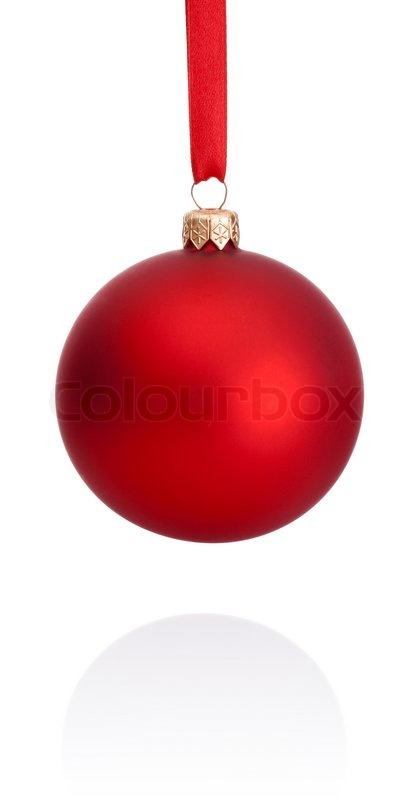 red christmas ball hanging on ribbon isolated on white