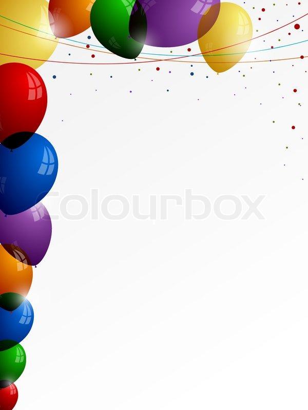 bunte luftballons auf wei em hintergrund mit farbigen f den und konfetti vektorgrafik colourbox. Black Bedroom Furniture Sets. Home Design Ideas